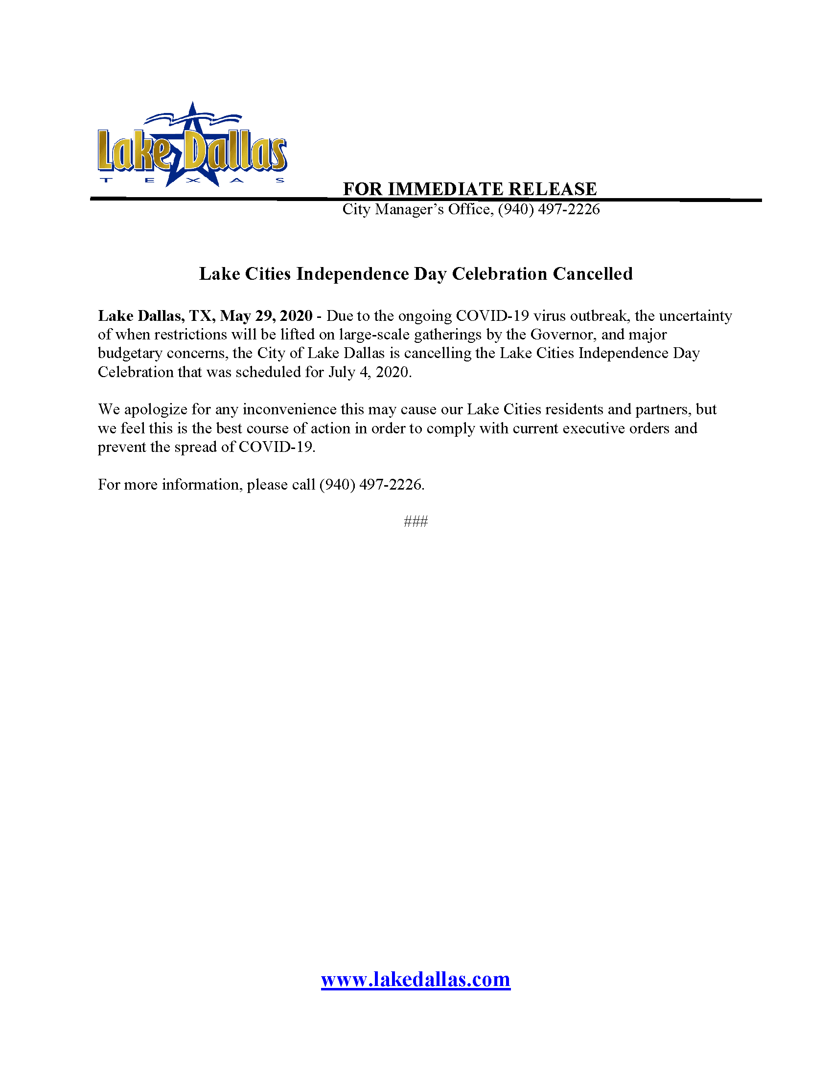 Press Release - Lake Cities Independence Day Celebration Cancelled (May 28 2020)